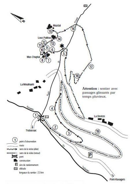 Gîtes en Cévennes - Plan du Sentier de la Roquette